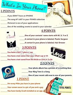 Whats in your PHONE game for Bridal Shower or Bachelorette Party. Instant Download. Super Fun!