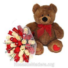 Regalo Sant Valentín Saint Valentine, Valentines Day, Teddy Bear, Animals, Wooden Flowers, Rose Bouquet, Original Gifts, Valentines, Bouquets