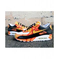 Nike Air Max 90 Baltimore Orange Custom Sneakers Sell at a Discount<br> Nike Air Max 90s, Nike Air Force, Sneaker Outfits, Sneakers Fashion Outfits, Custom Sneakers, Custom Shoes, Platform Sneakers, Air Max Sneakers, Sneakers Nike
