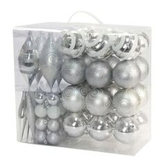 St. Nicholas Square 70-pc. Shatterproof Silver-Tone Christmas Ornament Set