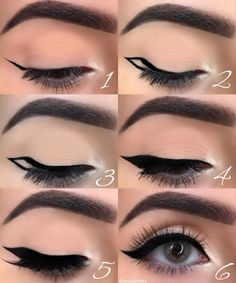 makeup eyeliner looks * makeup eyeliner ; makeup eyeliner looks ; Eyeliner Make-up, Eyeliner For Hooded Eyes, Eyeliner Styles, Winged Eyeliner Tutorial, Black Eyeliner, How To Winged Eyeliner, Hooded Eye Makeup, Hooded Eyelids, Eyeliner