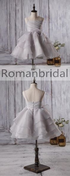 Cute Light Grey Organza Bustled Flower Little Girl Dresses, Cheap Flower Girl Dresses, FG057