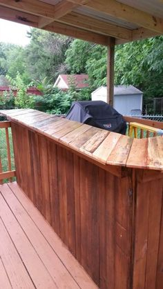 We made this bar for our back deck. It took one weekend to complete.