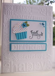 Treat Yourself .Stamps: Celebrating You (Verve) .by Twinlynn stampin-up-only Bday Cards, Kids Birthday Cards, Handmade Birthday Cards, Greeting Cards Handmade, Card Birthday, Birthday Bash, Stampin Up, Cricut Cards, Embossed Cards