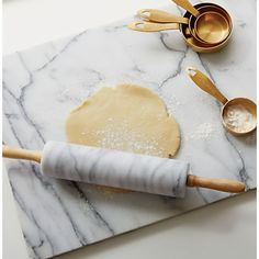 French Kitchen Marble Rolling Pin with Stand - Image 5 of 13 Gold Kitchen, Kitchen Dining, Kitchen Decor, Pastel Kitchen, Crate And Barrel, Marble Pastry Board, Keramik Design, Kitchen Items, Kitchen Tools