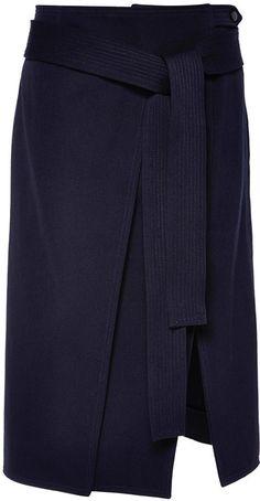 Nina Ricci Technical Wool And Cotton Twill Skirt