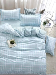 To find out about the Plaid & Striped Duvet Cover Set at SHEIN, part of our latest Bedding Sets ready to shop online today! Duvet Bedding, Bedding Sets, Girl Bedding, Cute Bed Sheets, Cute Bedroom Decor, Aesthetic Room Decor, Duvet Cover Sets, My Room, Girls Bedroom