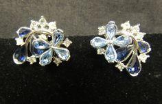 Vtg Clip Earrings Designer SIGNED Trifari Rhinestone AB Blue Bride Silver