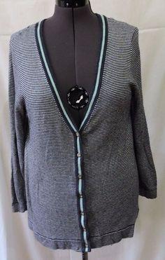 J. Jill Women Blue Wool Cardigan Size L #JJill #Cardigan