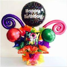 Arreglo de cumpleaños sencillo para dama, Arreglo de feliz cumpleaños, Detalle para cumpleaños para entrada o centro de mesa, Arreglo para mujer, Arreglo aniversario para festejar, Regalo para secretaria o asistente, Arreglo de globos cumple ramita, Arreglo de globos envio domicilio monterrey