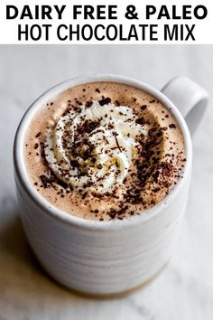 This dairy free hot chocolate mix is made with real cacao powder, coconut sugar, and is highly customizable. Dairy Free Hot Chocolate, Paleo Chocolate Chips, Homemade Hot Chocolate, Hot Chocolate Mix, Hot Chocolate Recipes, Coconut Hot Chocolate, Paleo Recipes Easy, Healthy Dessert Recipes, Real Food Recipes