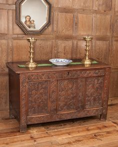 Exeter area carved oak chest dated 1691. Marhamchurch antiques
