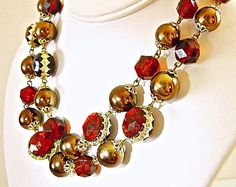 Lucite Necklace-Earrings W Germany 2-Strand Vintage Set Red Bronze Beads