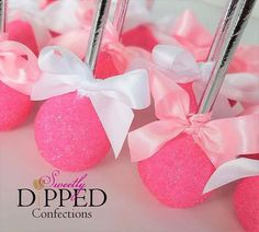 Hot Pink cake pops to match a Victoria's Secret themed party BUT I would add the pink logo's on them to make them classy!