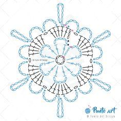 Crochet ideas that you'll love Free Crochet Snowflake Patterns, Crochet Motif Patterns, Crochet Symbols, Crochet Stars, Crochet Quilt, Crochet Snowflakes, Crochet Diagram, Thread Crochet, Crochet Doilies