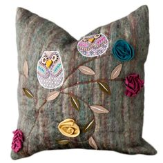 I pinned this Owls Pillow from the Shiraleah event at Joss and Main! Recycled wool appliques.
