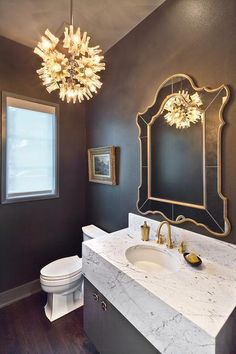 Gray and Gold Powder Room with Marble Vanity, Contemporary, Bathroom