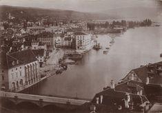Blick auf dem Limmatqaui entlang Richtung Zürichsee, 1865. Switzerland, Paris Skyline, Travel, Past, City, Photo Illustration, Viajes, Trips, Traveling