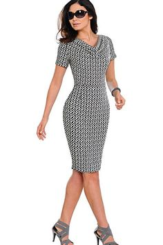 White Leopard, Teal Colors, Office Fashion, The Ordinary, Solid Black, Sleeve Styles, Short Sleeve Dresses, Bodycon Dress, Dresses For Work