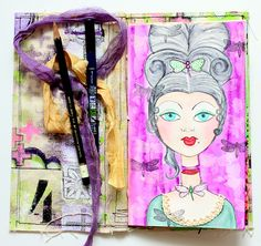 Dragonflies and Marie Antoinette Mixed Media Art