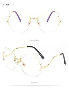1dd3fbdaf15 Rimless Cut The Lens Metal Women Transparent Glasses Frames Brand EyeGlasses  2017 Fashion Shades Eyewear No