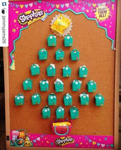 """So clever! #Repost @jammyjams26 ・・・ Close up of the #shopkins advent calendar made for my daughter for this years Christmas countdown #spkfan…"""