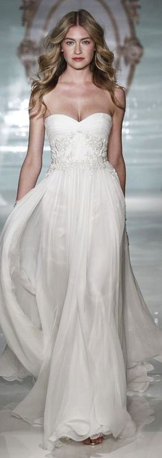 Flowing white wedding gown by Reem Acra Bridal Spring 2015 - perfect for beach wedding