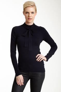 Silk Blend Bow Turtleneck Top//