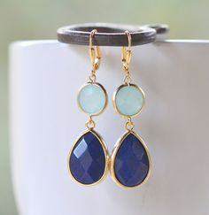 Navy Blue and Grayed Jade Jewel Gem Earrings in Gold. by RusticGem