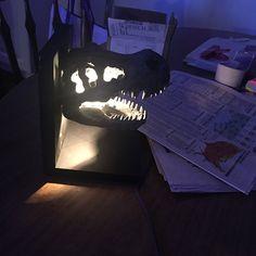 Dinosaur light   Etsy Dinosaur Light, Bat Signal, Superhero Logos, Skull, Etsy, Unique Jewelry, Handmade Gifts, Beautiful, Vintage