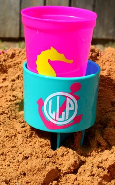 Monogram Beach Spiker Beverage Holder by DecalInnovations on Etsy, $10.00