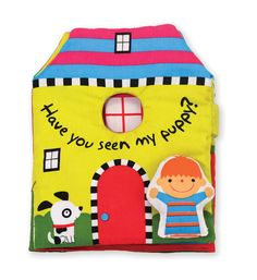 Soft Activity Book - Have You Seen My Puppy? : Where is puppy? You can connect the pages to make a stand-up play house!  Open the play scene and check under every flap in the kitchen, the backyard, and more to find the puppy. With colorful illustrations, a shatterproof mirror, and a cheerful removable play pal, this crinkling, lift-the-flap, fold-open cloth book will be a favorite through story time, playtime, and the washing machine, too.