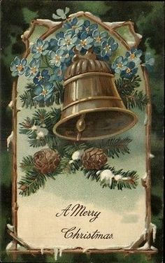Lovely blue colors in this one.... PFB Christmas Greeting Bell Pine Cones Blue Flowers Embossed c1910 Postcard