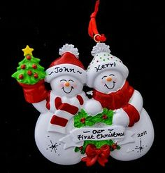Red Snowman Couple First  Christmas Ornament Personalized