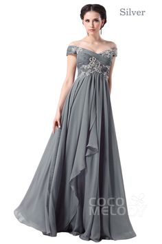 Modest Sheath-Column Off The Shoulder Floor Length Chiffon Mother of The Bride Dress with Draped and Crystals COZF14058#cocomelody