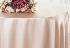"90"" Round Satin Tablecloth - Blush Pink $6.22"