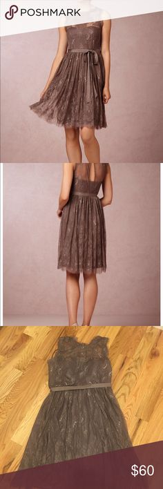 Hitherto mocha dress from Anthropologie bhldn Euc...worn once! Beautiful dress...great for a event, wedding guest or as a bridesmaid!!! Anthropologie Dresses