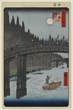 <名所江戸百景 京橋竹がし : KYOBASHI TAKEGASHI> KYO BRIDGE AND BAMBOO YARDS HIROSHIGE UTAGAWA 1797-1858 Last of Edo Period