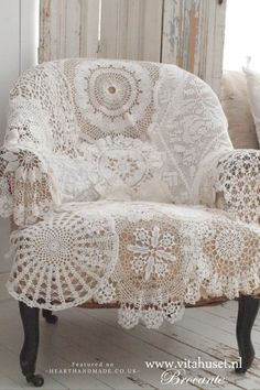 DIY Shabby Brocante Doily Chair Cover - 15 More Fascinating Doily Crafts You'll Want To Make Immediately!