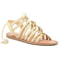 Elegant Footwear Lupita Lace-Up Sandal ($30) ❤ liked on Polyvore featuring shoes, sandals, camel, wedge heel sandals, open toe shoes, multi-strap sandals, open toe wedge shoes and lace up wedge shoes
