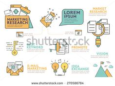 Set of Flat line icon & infographic design concept Marketing Research ,E-Mail Marketing , Keyword , Research , Idea , Vision / Infographic Element / icon / Symbol , Vector Design - stock vector