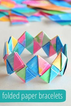 to Make Folded Paper Bracelets How to make this lovely folded paper bracelet. We used to make these out of starburst wrappers.How to make this lovely folded paper bracelet. We used to make these out of starburst wrappers. Easy Crafts For Teens, Summer Crafts For Kids, Art For Kids, Diy And Crafts, Summer Fun, Fun Crafts For Girls, Tween Craft, Creative Crafts, Teenage Craft Ideas