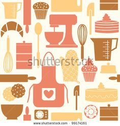 stock vector : Seamless pattern in retro style with kitchen and baking items.
