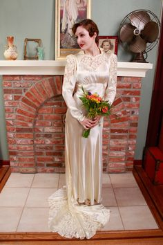 Vintage 1930s Wedding Gown Late 30s Candlelight Satin by FabGabs