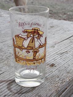 SALE // vintage HOLLY HOBBIE glass by OldSteamerTrunkJunk on Etsy