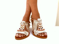 Pom Pom sandalen, lederen sandalen, bruiloft boho sandalen, Griekse sandalen, handgemaakte sandalen kant katoen