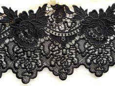 Beautiful Rose Lace Black Venice Lace Trim for Black Bridal, Altered Clothing, Embellishing, Costume Design Lace Wallpaper, Rose Lace, Black Laces, Lace Applique, Beautiful Roses, Costume Design, I Tattoo, Lace Trim, Dress Shoes