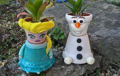 Elsa ed Olaf, simpatici porta piantine.