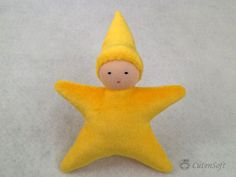Waldorf inspired Pocket Doll (Little Star, Yellow), organic toy - Handmade stuffed baby toy, DIY for your own baby mobile