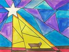 Nativity Star of Light Art Lesson for kids - Leah Newton Art Advent Art Projects, Christmas Art Projects, School Art Projects, Christmas Paintings, Jesus In A Manger, Nativity Star, Christmas Art For Kids, Star Template, Color Crayons